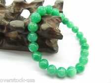 CHARM Chinese Green Jade 8mm Beads Bracelet