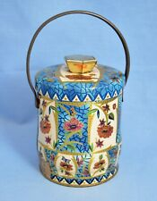 VINTAGE ENGLAND CYLLINDRICAL FLORAL CHOCOLATE CANDY TOFFEE TIN CONTAINER