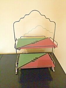 1930'S/40's  ART DECO PINK /GREEN CAKE STAND - CHROME & GLASS