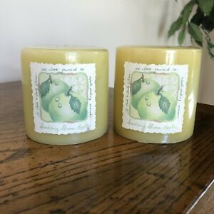 """NEW Vtg Bath & Body Works Pillar Candle Sparkling Green Apple Scent 3"""" Lot of 2"""