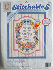"NEW NIP Dimensions Stitchables ""Sisters Are for Sharing"" Stamped Cross Stitch"