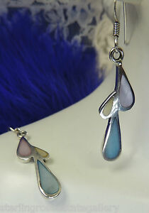 """1 3/4"""" Blue Pink Mother of Pearl Sterling Silver 0.925 Estate Wire Earrings"""