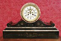 Antique 19th Century French S. Marti Slate & Marble Open Escapement Mantel Clock
