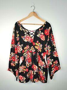 MINK PINK Womens Black Floral Playsuit Romper Long Sleeve V-Neck - Size L BNWT