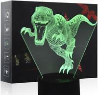 Lampe 3D Dinosaure LED 7 Changement de couleur avec Acrylique Plat et Base