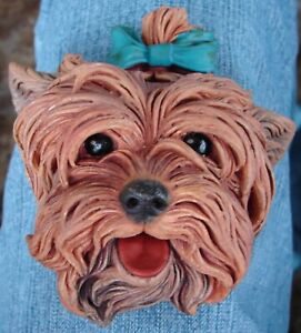 VINTAGE BOSSONS CHALKWARE HEAD YORKIE YORKSHIRE TERRIER WALL HANGING ENGLAND