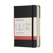 2018 Moleskine Pocket Daily Diary 12 Months Hard Black Lined Book New