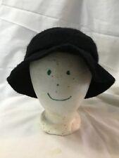 Vintage Union Made United Hatters Cap Black Wool Lined Ladies Brimmed Hat