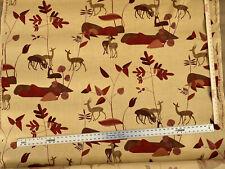 Lee Jofa Deer Forest Linen Print Red Terra-cotta On Sand 4yd MSRP$636
