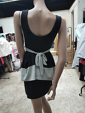 Lovely Wal G Black & Grey Wooly Striped Layer Dress Size S Tie At The Back