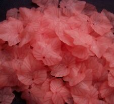 40 Salmon Pink Frosted Acrylic Leaves Leaf Charms 24 mm
