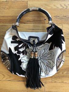 Gucci Indy Baboushka Black White Leather Handbag Bag Satchel Purse