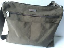 Baggallini Crossbody Purse Brown Nylon Travel Bag Multi Pocket Handbag Purse