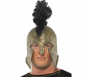 Achilles Helemet Deluxe Mens Roman Gladitor Latex Hat Fancy Dress Accessory Adul