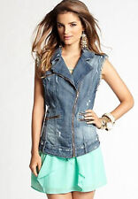 $118 GUESS Denim Jean Vest Mila Denim Moto Vest Blue Jean Size S Small NWT
