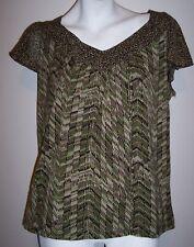 Charter Club Top M Artsy Stretch Knit Green Brown Shirt Blouse Women's Medium