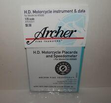 Archer 1:35 Harley Davidson Motorcycle Placards & Speedometer #AR35327 NIP