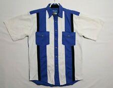 Vtg Wrangler Western Shirt Pearl Snaps Striped Short Sleeve Camp Rockabilly (E)