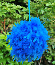 Feather Pom Poms Kissing Ball Decorate Ball Chandelle Ball 12 inches -Turquoise