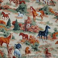 BonEful Fabric Cotton Quilt VTG Brown Scenic HORSE Equestrian Farm Ranch L SCRAP