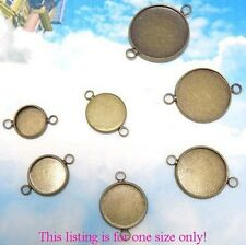 20PCS Antiqued Bronze Plate 12mm Round Blank Settings Connectors #22708