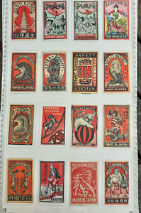 16  Antique c 1900 MATCHBOX Labels JAPAN / CHINA-- Birds, Animal, Bike, Elephant