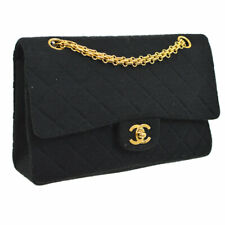 CHANEL Quilted CC Double Flap Chain Shoulder Bag Black Cotton VTG AK31604f