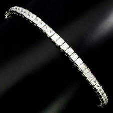 Sterling Silver Bracelet White Lab Created Diamond Square Cut Faceted 7 Inch