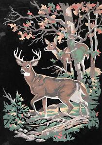 """Vintage Black Velvet Paint by Numbers Painting """"Deer in Woods"""" Original Artwork"""