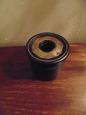 BOX EBONY RECEPTACLE SCREW ON LID THREADS ALL CARVED STERLING MOUNT DECORATION S