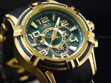 """New Invicta Men 50mm """" Bolt Spider """" Triple Cable Bezel Chrono 18K Gold IP Watch"""