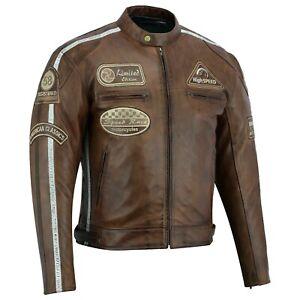 Herren Motorrad Lederjacke mit Protektoren Retro Cruiser Leder Vintag Jacke Neu