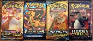 4 Pokemon Sealed Charizard Booster Packs, Inc Hidden fates, Darkness ablaze +++