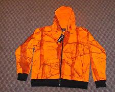 HEAVY Blaze Orange Camo Zippered Hooded Sweatshirt  Deer Hunting       3XL
