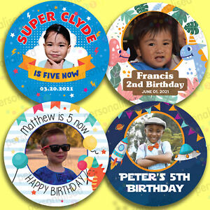 Personalised Birthday Boys & Girls Stickers Insert Amazing Photo Sweet Party Bag