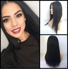 100% Echthaar! Women Lang Glatt Schwarz Perücke Menschliches Haar Perücke 92