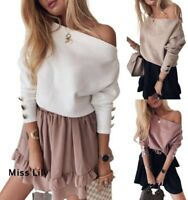 Womens Tops Pullover Long Sleeve Elastic Knitted Party Jumper Ladies Sweater