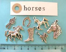 7 tibetan silver horse charms horse foal riding boot rosette saddle horse shoe