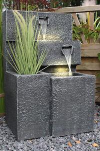Springbrunnen mit LED Beleuchtung Gartenbrunnen bepflanzbar B-Ware Grada