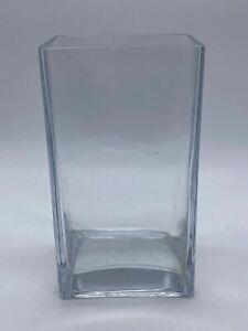 Large Stylish Modern Square Based Thick Clear Glass Decorative Vase