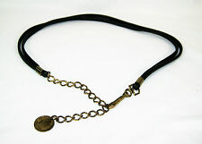 Vintage Women's Double Leather Strand Gold Tone Chain Coin Belt Size M/L