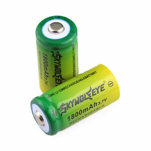 2pcs SKYWOLFEYE 16340 CR123A 3.7V 1800mAh Rechargeable Li-Ion Battery Batteries