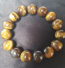 15 mm Brown Tigers Eye Stone Agate Chalcedony Chunky Bracelet Bangle 61 Grams