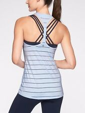 Athleta High Neck Chi Stripe Tank womens Size M Blue Halter T-back Pullover