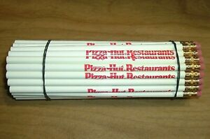 Lot of 47 Vintage Unused Unsharpened White & Red Pizza Hut Restaurants Pencils