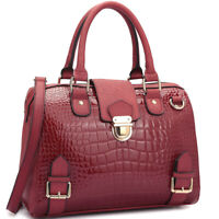 Dasein Women Handbag Faux Croco Leather Satchel Shoulder Bag Boston Purse
