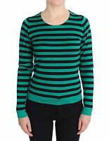 NWT $1160 DOLCE & GABBANA Sweater Green Black Silk Cashmere Top IT44 / US10 /L