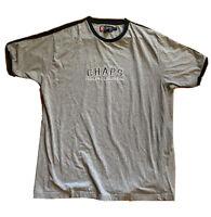 VTG Chaps Ralph Lauren Gray Embroidered Spell Out Logo T-Shirt Mens Size XL