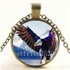 Vintage Us Flag Eagle Army Cabochon Glass Bronze Chain Pendant  Necklace