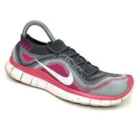 Nike Free 5.0 Flyknit Women's Running Gym Shoes Gray Pink White Size 9.5 US